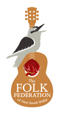 NSWFF Logo - a kookaburra and a waratah sit over a guitar.
